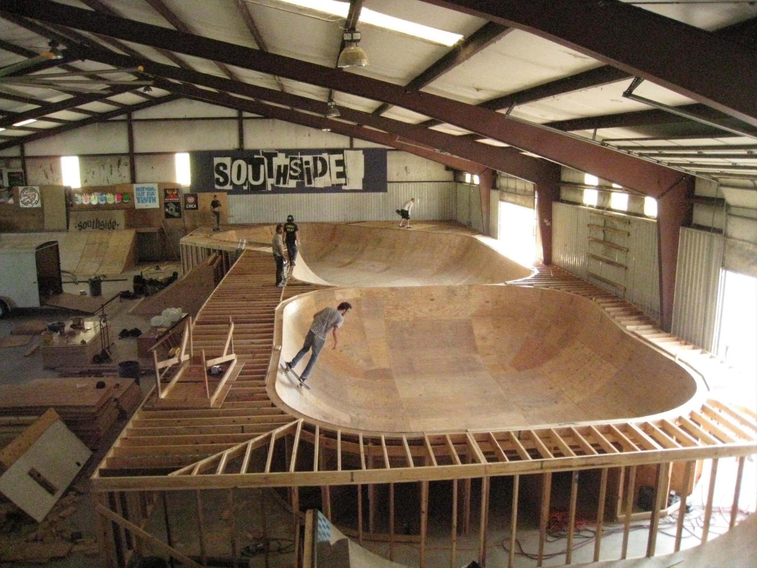 Southside skatepark in process wooden bowl 2008 no longer for Indoor skatepark design uk